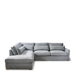 Brompton cross washed cotton corner sofa with right hand chaise lounge ice