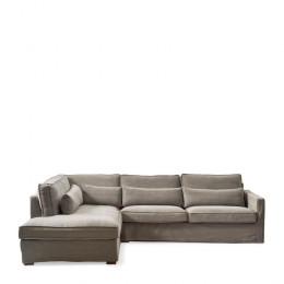 Brompton cross corner sofa chaise longue left washed cotton stone
