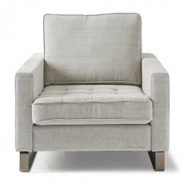 West houston armchair washed cotton ash grey