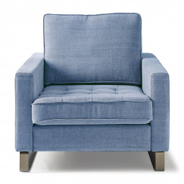 West houston armchair washed cotton ice blue