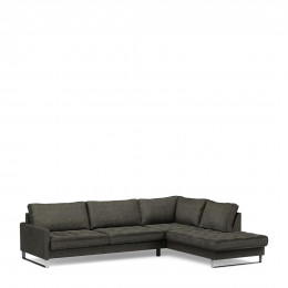 West houston velvet corner sofa with right hand chaise lounge shadow