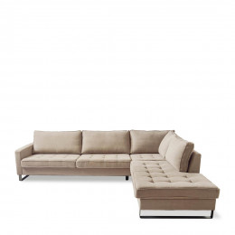 West houston corner sofa chaise longue right cotton natural