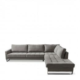 West houston corner sofa chaise longue right cotton grey