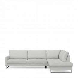 West houston corner sofa chaise longue right cotton ash grey