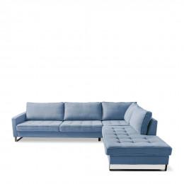 West houston corner sofa chaise longue right cotton ice blue