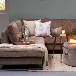 West houston velvet corner sofa with left hand chaise lounge pearl