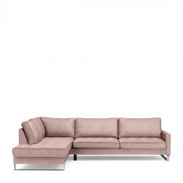 West houston velvet corner sofa with left hand chaise lounge blossom