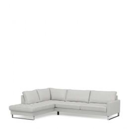 West houston corner sofa chaise longue left cotton ash grey