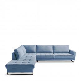 West houston corner sofa chaise longue left cotton ice blue