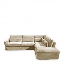 Brompton cross corner sofa chaise longue right velvet pearl