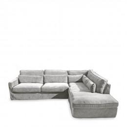 Brompton cross corner sofa chaise longue right velvet platinum