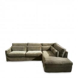 Brompton cross velvet corner sofa with right hand chaise longue shadow