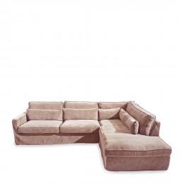 Brompton cross corner sofa chaise longue right velvet blossom