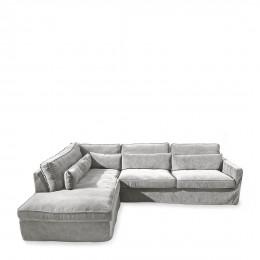 Brompton cross velvet corner sofa with left hand chaise longue platinum