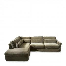 Brompton cross corner sofa chaise longue left velvet shadow