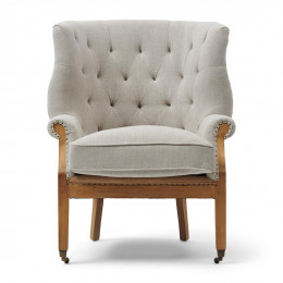 Cunningham wing chair lin fab flax