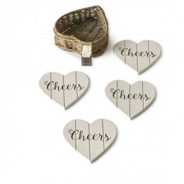 Rustic rattan heart coasters