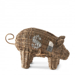Rustic rattan piggy money saver