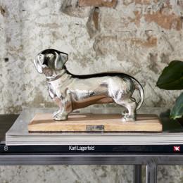 Happy dachshund statue
