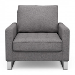 West houston armchair oxford weave steel grey
