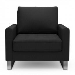 West houston armchair oxford weave basic black