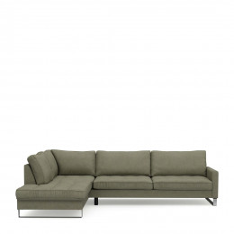 West houston corner sofa chaise longue left oxford weave forest green
