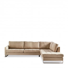 West houston corner sofa chaise longue right oxford weave ansvers flax