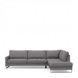 West houston corner sofa chaise longue right oxford weave steel grey