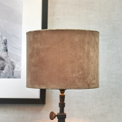 Velvet cylinder lampshade sand 15x20