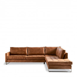 West h corner sofa right pell brown