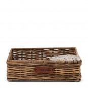Rustic rattan heart napkin holder
