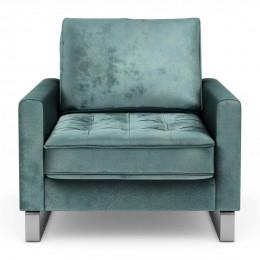 West houston armchair velvet mineral blue