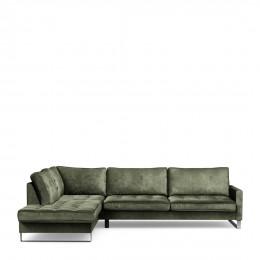 West houston corner sofa chaise longue left velvet ivy