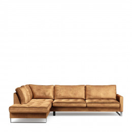 West houston corner sofa chaise longue left velvet cognac