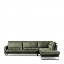 West houston corner sofa chaise longue right velvet ivy