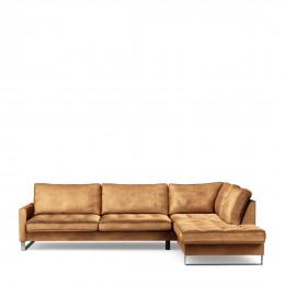 West houston corner sofa chaise longue right velvet cognac