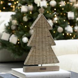 Rustic rattan flat christmas tree