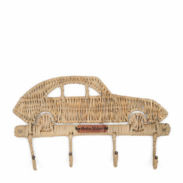 Rustic rattan car coat hanger