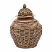 Rustic rattan ginger pot s