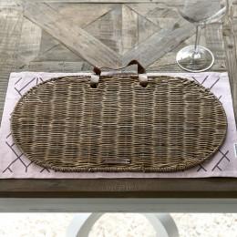 Rustic rattan bag placemat