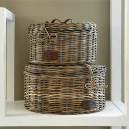 Rustic rattan box round s