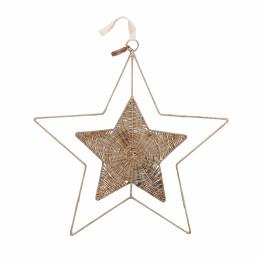 Rustic rattan star door decoration