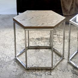 Hexagon parc end table wood