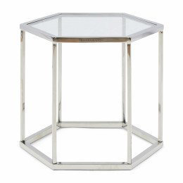 Hexagon parc end table glass