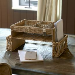 Rustic rattan desk organiser