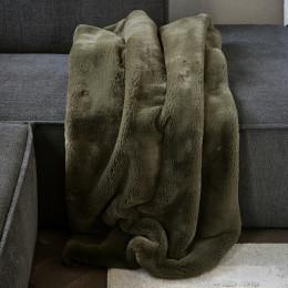 Faux fur throw green 170x130