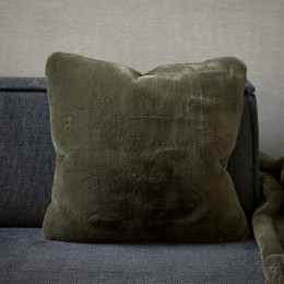 Faux fur pillow cover green 50x50