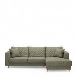 Kendall sofa with chaise longue right oxford weave forest green