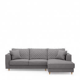 Kendall sofa with chaise longue right oxford weave steel grey