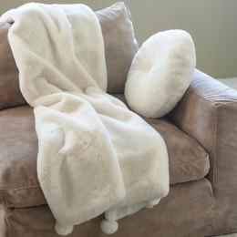 Cosy pompon faux fur throw 170x130